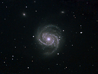 "M100  Galaxy in Coma Berenices. Taken at H2O on 05/02/05.  Meade LX200 GPS 8"" scope, DSI-C camera, alt/az mount. 10 seconds/image, total time 135 minutes. 2x2 drizzle with extra images in the center."