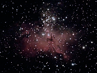 "M16  Eagle Nebula. Taken at home on 04/14/05. Meade LX200 GPS 8"" scope DSI-C camera, alt/az mount. 10-20 seconds/image, total time 65 minutes in center."